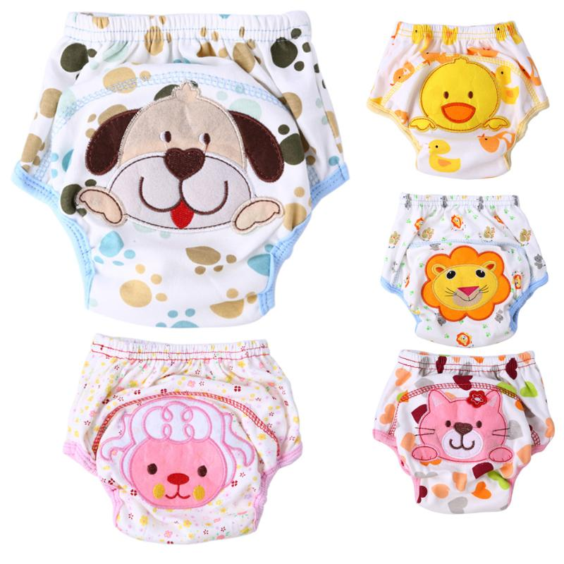 Cute Cartoon Baby Diapers Reusable Nappies Cloth Diaper Washable Newborn Baby Cotton Training Pants Panties Nappy Changing