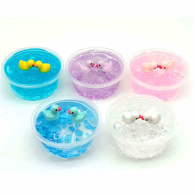 Crystal mud Squishies toys 60ml Yellow Duck Mud Mixing Cloud Slime Putty Scented Stress Kids Clay Toy fluffy slime
