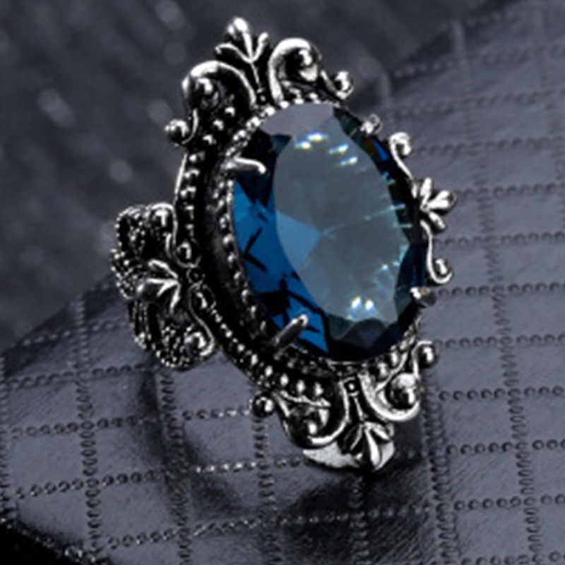 Fashion Goose Egg-shaped Sea Blue CZ Stone Ring Wedding Engagement Party Ring Jewelry Gift For Women