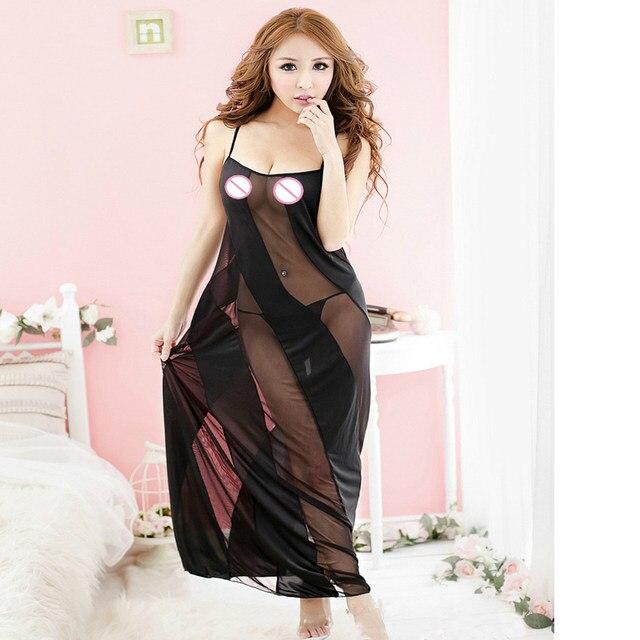 c1187c0d136 Plus Size Exotic Apparel 5XL 3XL Women New Elegant Black Transparent  Babydoll Long Nightdress Sleepwear Nightwear Big Size S-6XL