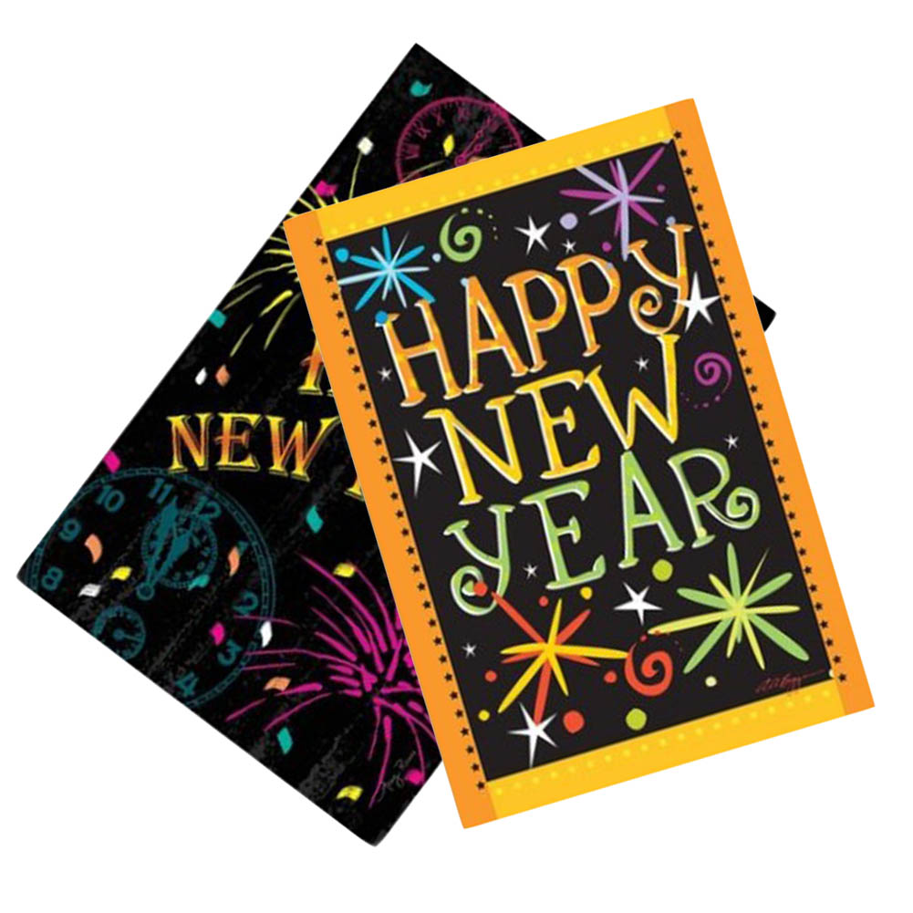 Happy New Year Garden Flag Polyester Christmas Yard Flags