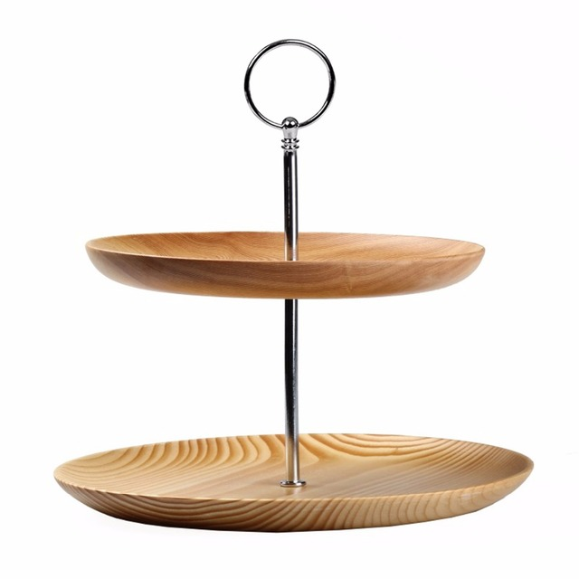 Homestia Double Tier Cake Stand Fruits Fir Aluminum Alloy Tray