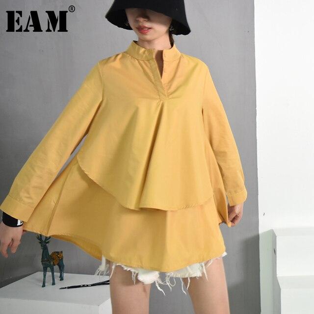 [EAM] 2019 אביב קיץ חדש אופנה צווארון עומד ארוך שרוול כחול פסים Loose גדול גודל חולצת פעמיים סיפון נשים חולצה YC203