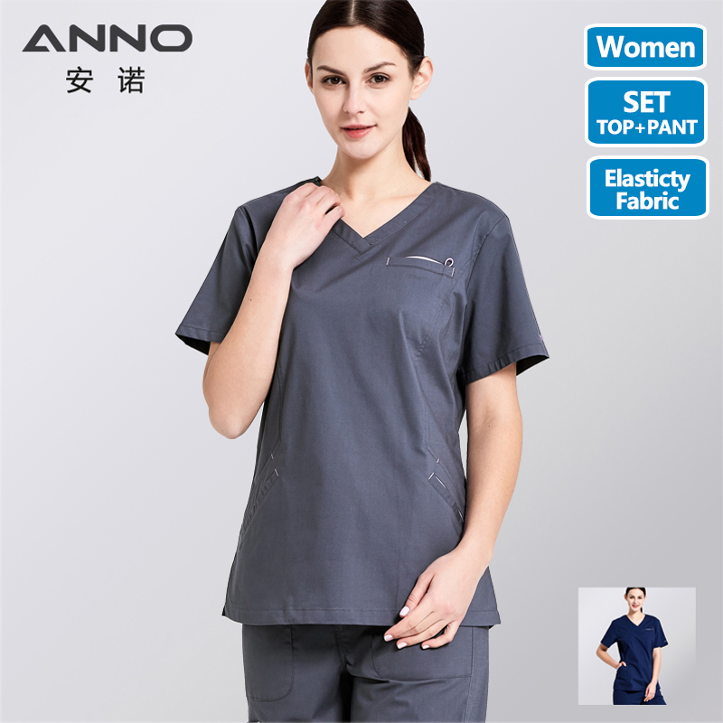 ANNO Cotton Medical Scrubs Set Surgery Nurse Uniform For Women Medical Clothing Shirt Pant Beauty Salon