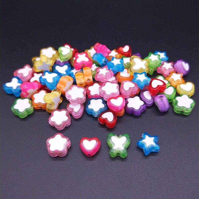 50 шт Смешанные двухцветные бусины в форме сердца/бабочки/звезды/цветка формы свободные бусины набор «сделай сам» Аксессуары для ювелирных изделий