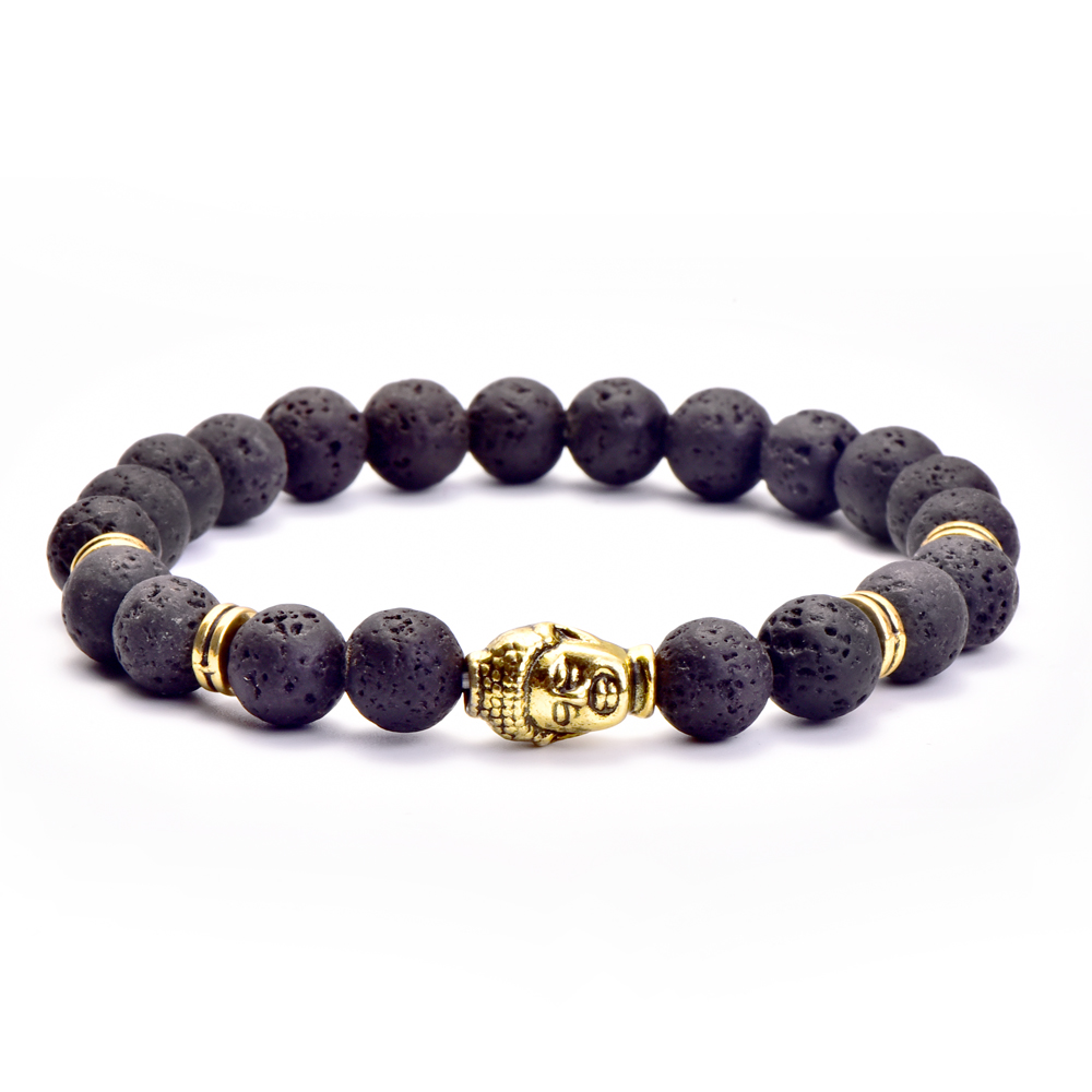 8mm Buddha head Bracelet Antique Gold and Silver Religious Lava Natural Stone Beaded Bracelets For Men Women Gift Wholesale