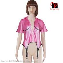 Sexy Metallic Pink Latex garter suspender belts sleeve Rubber Gummi coat blouse Body stocking shirt Fetish Bondage uniform Dress