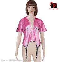 Sexy Metallic Pink Latex garter suspender belts Rubber Gummi coat blouse Body stocking shirt uniform Dress plus size XXXL SY 003