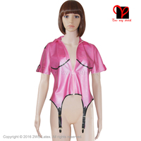 Sexy Metallic Pink Latex garter suspender belts Rubber Gummi coat blouse Body stocking shirt uniform Dress plus size XXXL SY 003