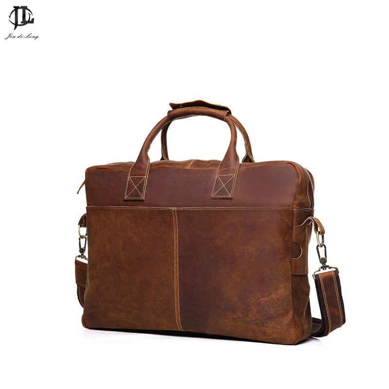 Retro men's crazy horse genuine leather briefcase male Vintage business shoulder bags large handbag messenger travel bag joyir men briefcase real leather handbag crazy horse genuine leather male business retro messenger shoulder bag for men mandbag