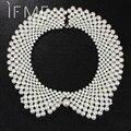 Moda noble blanco y negro diseñador de la marca de imitación de la perla collar babero declaración choker collar de la joyería para las mujeres para la boda