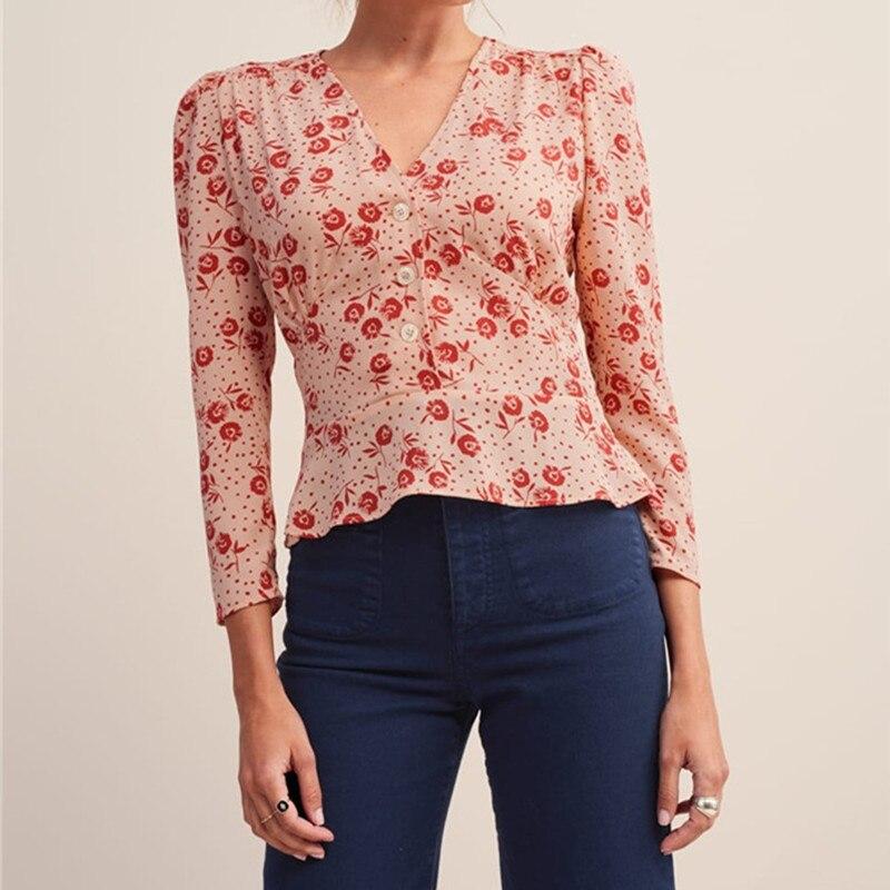 Women Flower Print V Neck Shirt 2019 New Spring Summer Fresh Sweet Slim Fit Top
