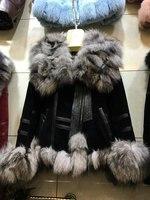 100 Genuine One Piece Leather With Fox Fur Collar Short Design Women S Autumn Winter Warm
