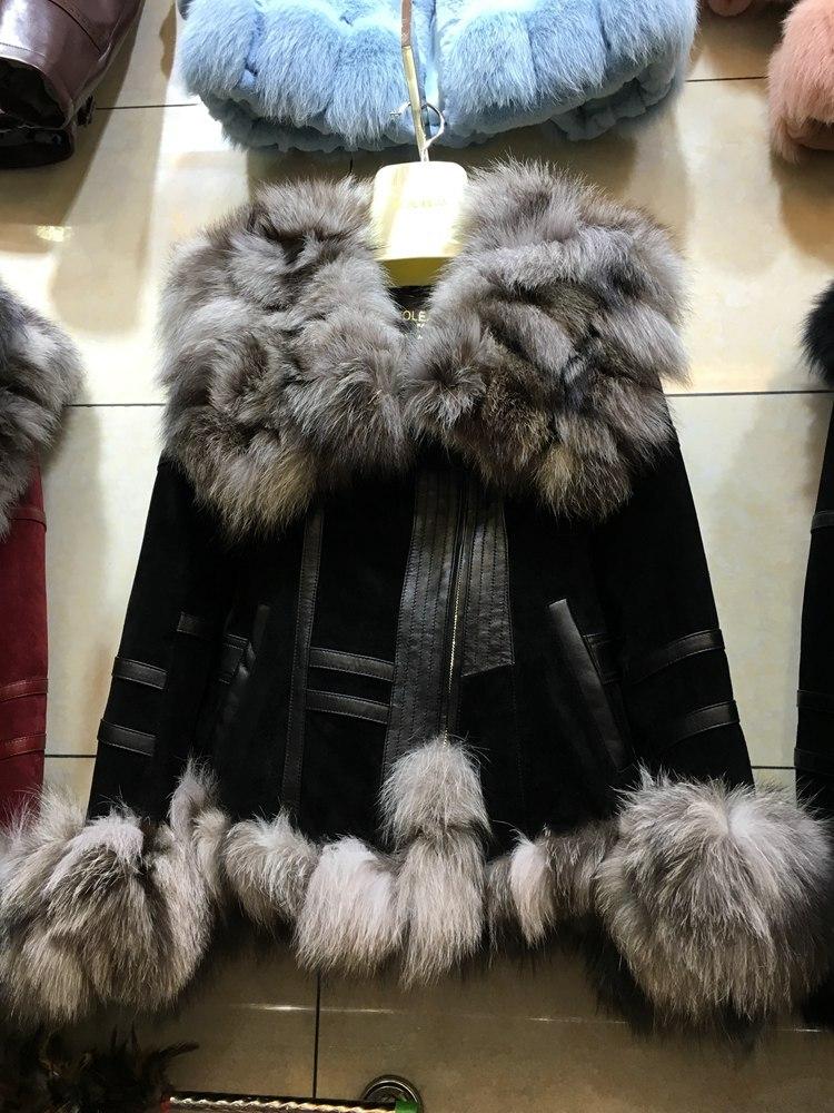 100% натуральной свиной кожаная куртка с большой натуральный Лисий мех воротник короткий дизайн женщины на осень-зиму теплая куртка леди мод...