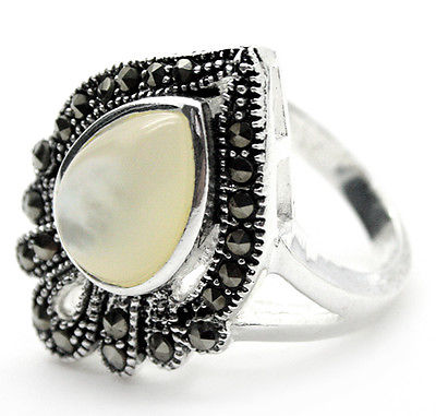 Hot sale>@@ ladys noble 925 SILVER NATURAL DROP WHITE SEA SHELL MARCASITE RING SIZE 7/8/9/10