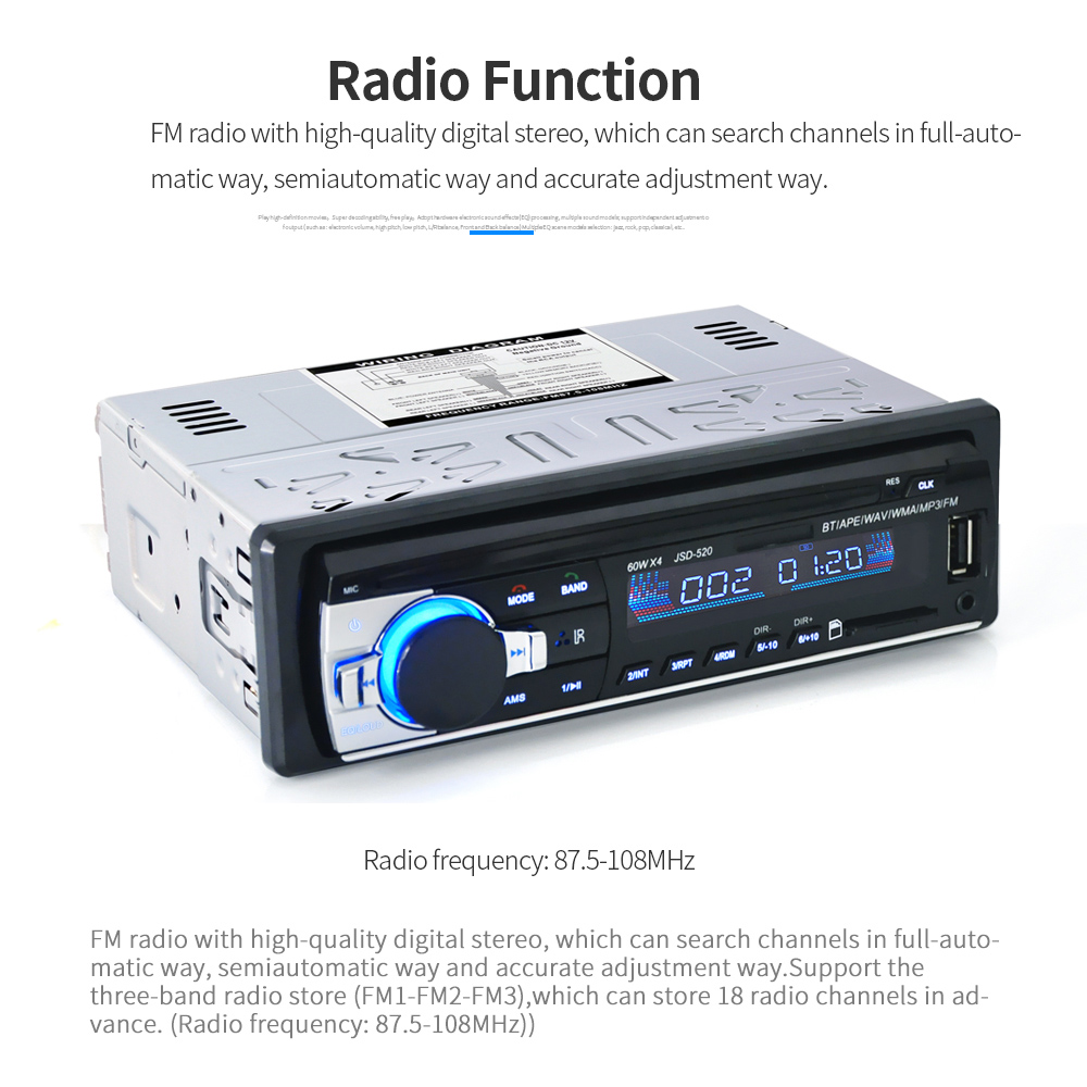 Car Stereo BT Radio Audio Player Receiver In-Dash FM Aux Input WMA WAV MP3 Player with SD/USB Port fx audio m 160e bluetooth 4 0 digital audio amplifier 160w 2 input usb sd aux pc usb loseless player for ape wma wav flac mp3