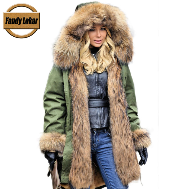 Parka with rabbit fur hood