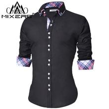478f12106 2018 dos homens Camisa Casual Slim Fit Botão Baixo Camisa Ocasional dos  homens de Manga Longa