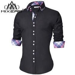 2018 Мужская Повседневная рубашка Slim Fit Мужская Повседневная кнопка вниз рубашка с длинным рукавом официальные сорочки мужская одежда Camisa