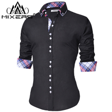 2018 camisa Casual para hombre, ajustada, Casual, con botones, camisa de manga larga, camisas de vestir formales para hombre y hombre ropa Camisa