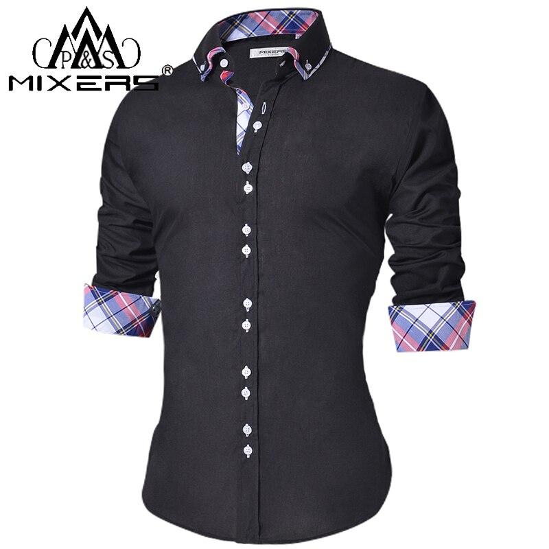 2018 de los hombres Casual Camisa Slim Fit los hombres casuales de botón abajo camisa de manga larga Formal vestido de hombre ropa Camisa