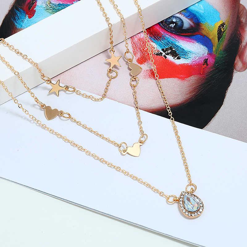 خمر متعدد الطبقات عقد ذهب للنساء Kolye الأزياء زهرة نجمة الكريستال سلسلة قلائد بوهو المختنق مجوهرات 2019
