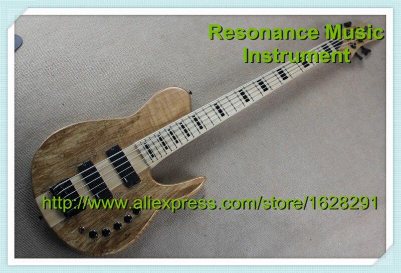 Haute qualité 5 cordes basse guitares érable cou à travers érable Fretboard