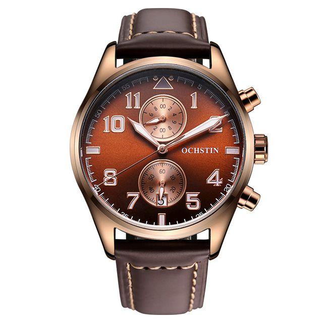 Limited OCHSTIN Mens Watches Luxury Brand Watch Men Genuine Leather Strap Men's Quartz Wrist Male Clock Watches