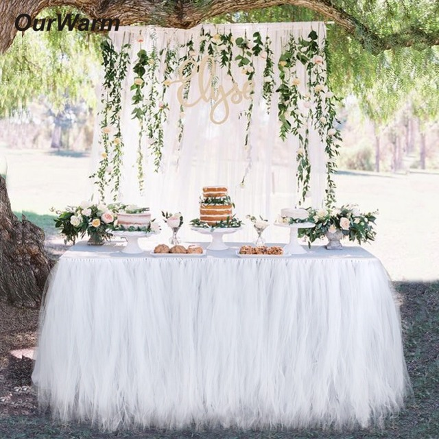 Us 130 32 Offourwarm Wedding Decoration Tulle Tutu Table Skirt Diy Table Accessories 100x80cm Baby Shower Favors Birthday Party Decorations In
