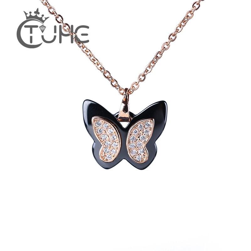 613a3d8d5e60 Collar con dijes de mariposa de cerámica saludable colgante 585 Color oro  rosa Bling AAA Zirconia ...