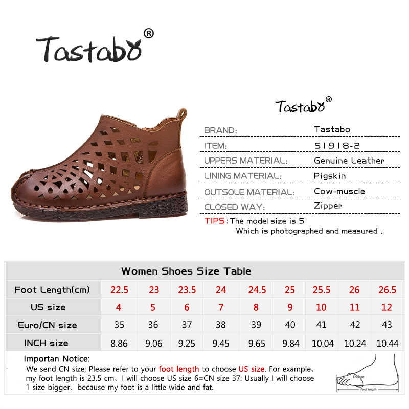 Tastabo Yeni ajur yarım çizmeler Düz Hakiki Deri Kadın Ayakkabı Nefes Rahat Alçak topuk tasarım kaymaz taban