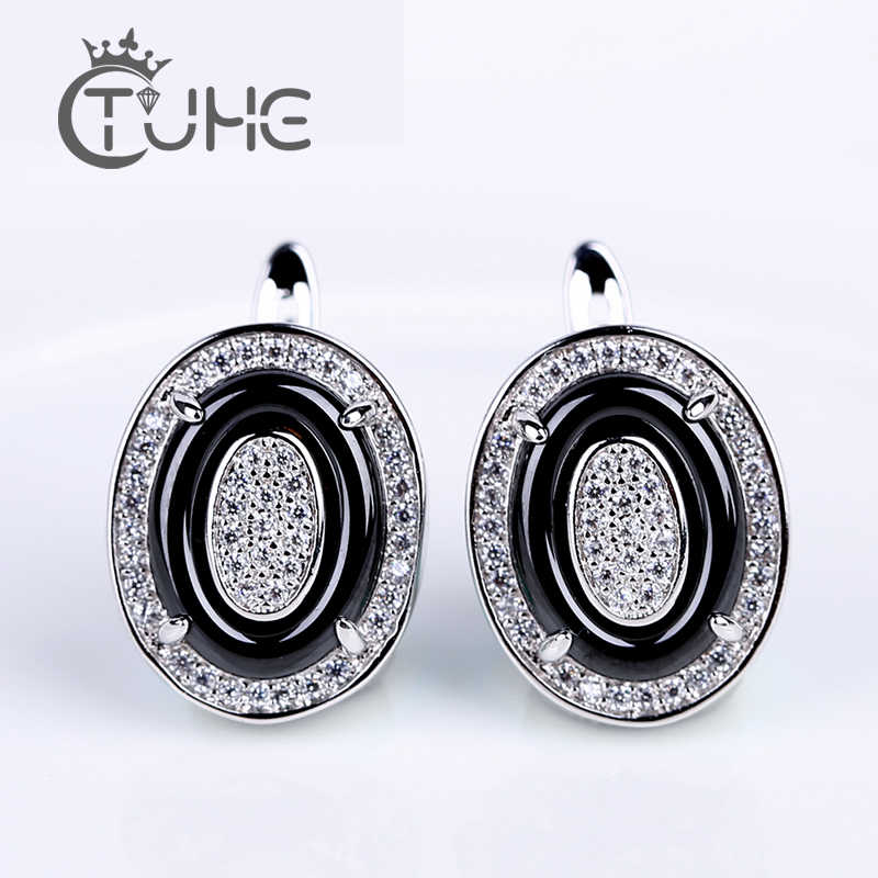 2019 Luxury Silver Color White Stone Oval Earrings For Women Shinning CZ Ceramic U Shape Stud Earrings Jewelry Statement Jewelry