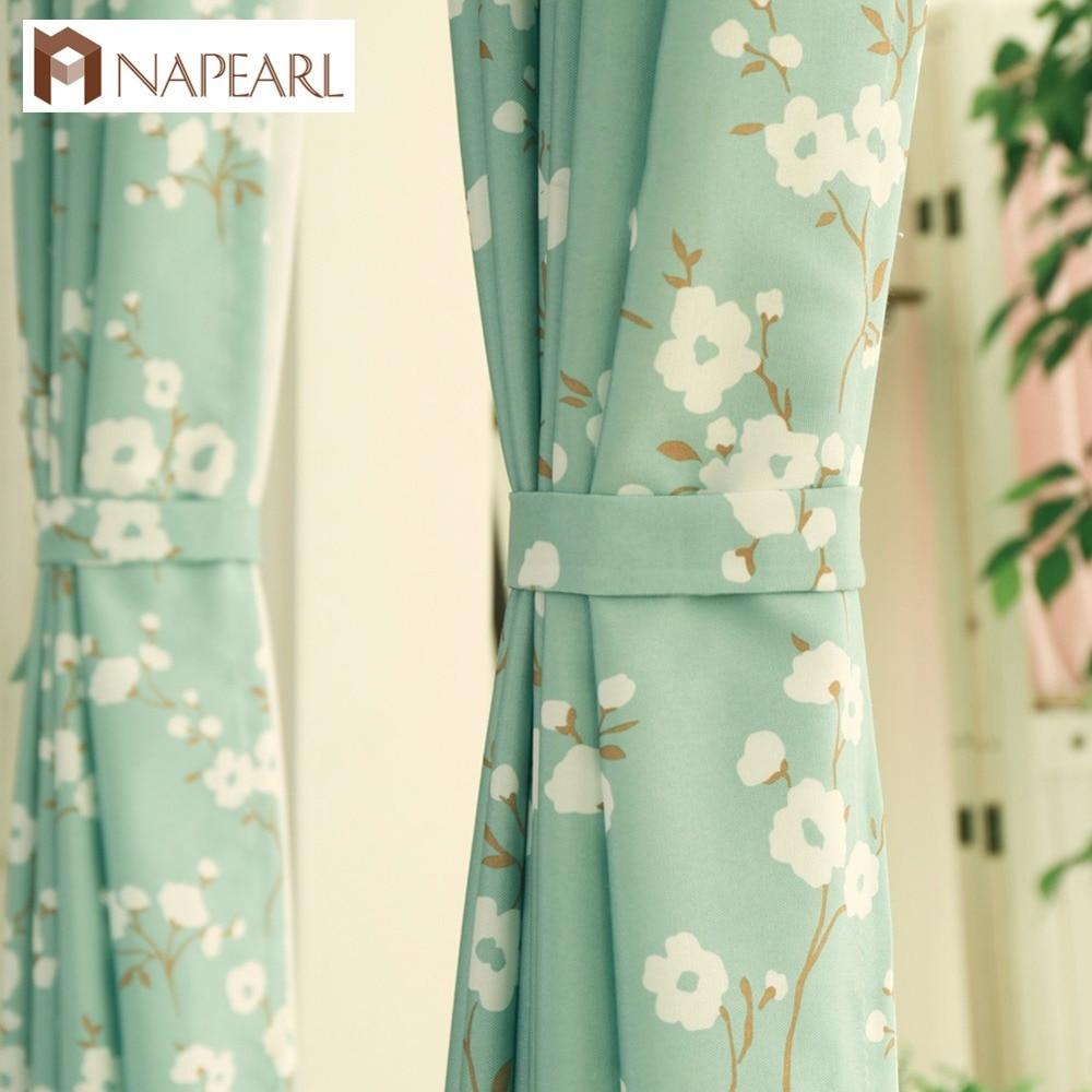 NAPEARL 1 Piece Fresh Flowers Green Curtain Korea Living Room Bedroom Fabrics Children Room Window Treatment Modern Kitchen Door