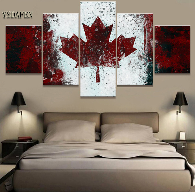 5 Stuk HD Print Canada Vlag Foto Schilderij Canvas Wall Art Foto ...