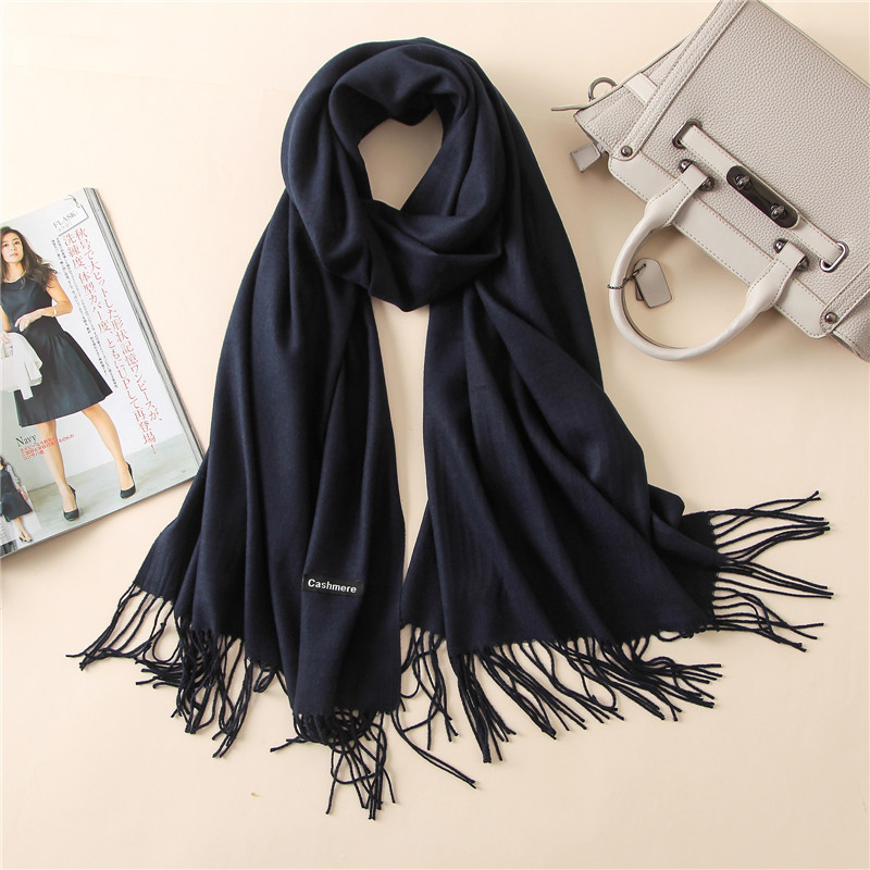 2019 Fashion Women Cashmere Solid   Scarf   Summer Thin Pashmina Shawls and   Wraps   Long Soft Female Foulard Hijab Stoles Head   Scarves