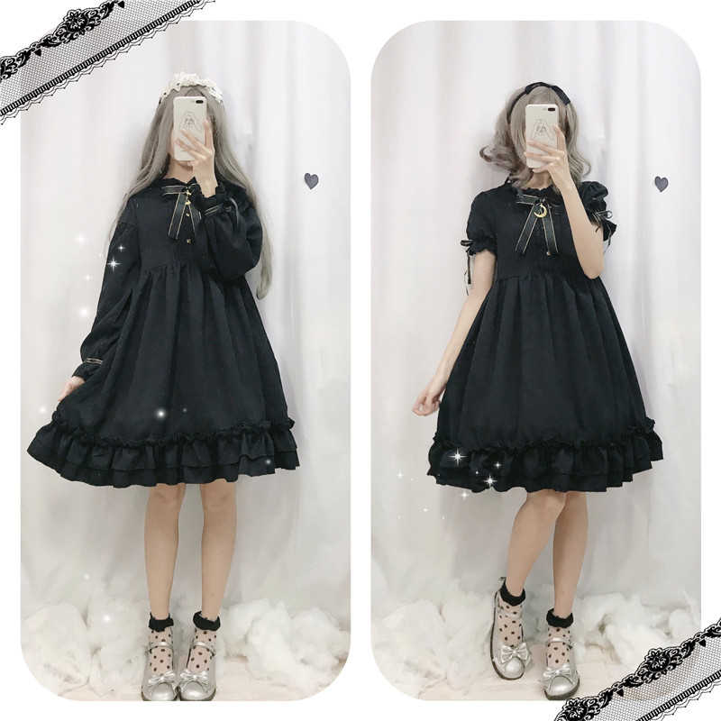 Cute Sweet Lolita Black Empire Cosplay Outfit Anime Princess Slim Dress Doll Clothing For Kawaii Girls Japanese Free Shipping