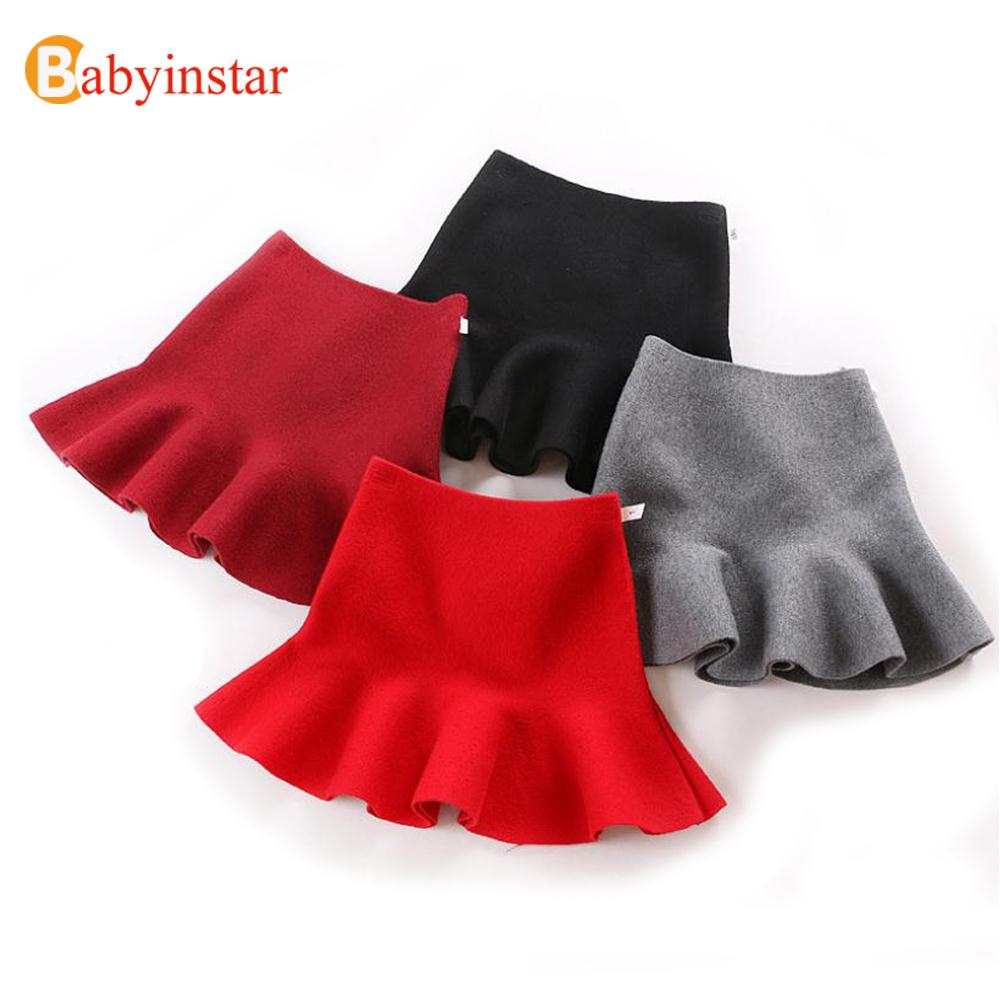 4 Colors Children Skirt Autumn Solid Simple Kids Bottoms Outerwear Lace Hem Casual 4-12Yrs Girls Skirts