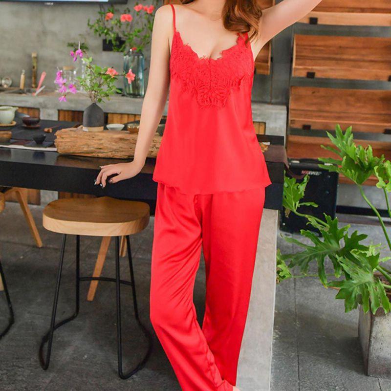 women's lace satin silk long pants   pajamas     sets   spaghetti strap sleeveless sleepwear   pajamas   pyjama femme homewear