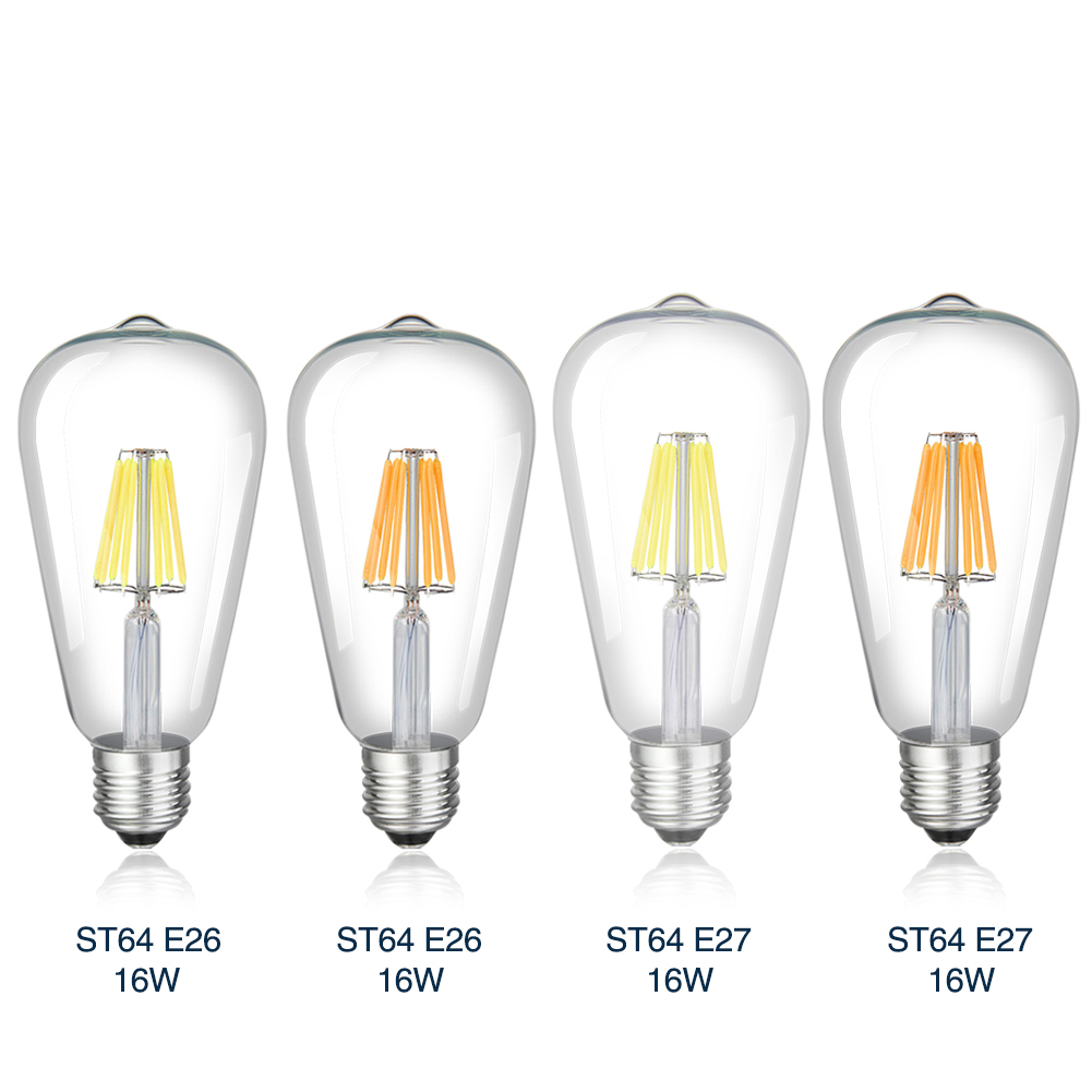 TSLEEN Retro E27 Edison Filament Bulbs Dimmable LED Light Amber Golden/Transperent Shell ST64 Lamps High Bright