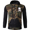 Hoodies Men Fahion Skull Print Long Sleeve Hoodie Camouflage Splicing Male Sweatshirt Moletom Masculino Military Hooded Jacket