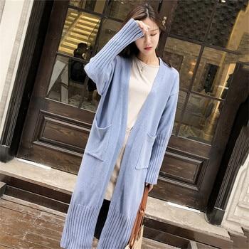 Suéter de punto Mujer azul claro cárdigan suelto 2019 nuevo Otoño Invierno moda Coreana de manga larga suéter largo amarillo LD1118