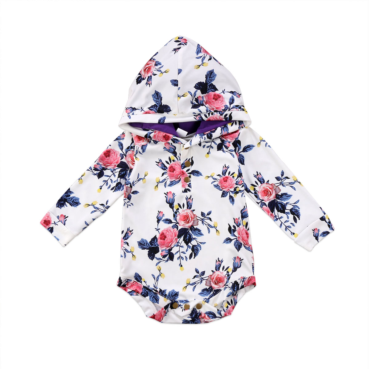 Baby Girl Long Sleeve Hooded   Romper   Hooded Floral Jumpsuit