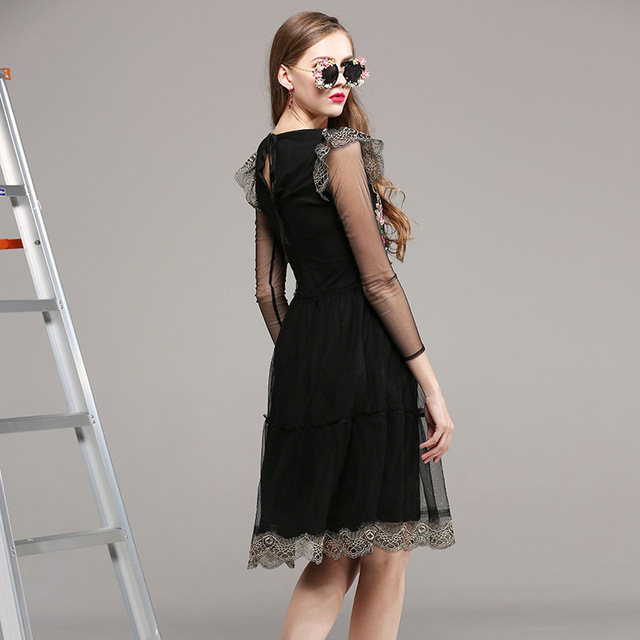 Vintage Gold Embroidery Sexy Black Tulle Dress