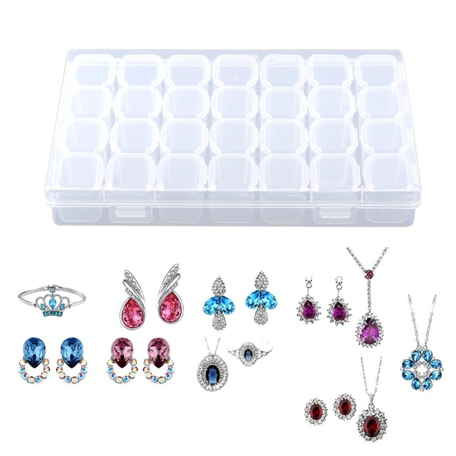 28 Slots Adjustable Plastic Organizer Storage Box Empty Clear Nail Art  Decoration Rhinestone Gem Bead Container Storage Case 3e9ed805d563