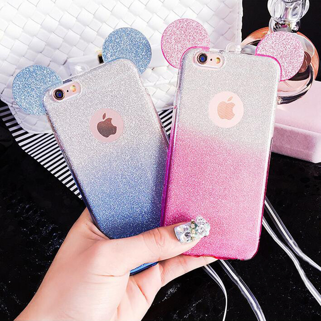 431ef2e8b7 3D Mouse Ears 2 in 1 Soft TPU Silicon Glitter Gradient Color Clear Cover  Case for iPhone 5 5S SE 6 6S 7 Plus Cases W/ Hang rope
