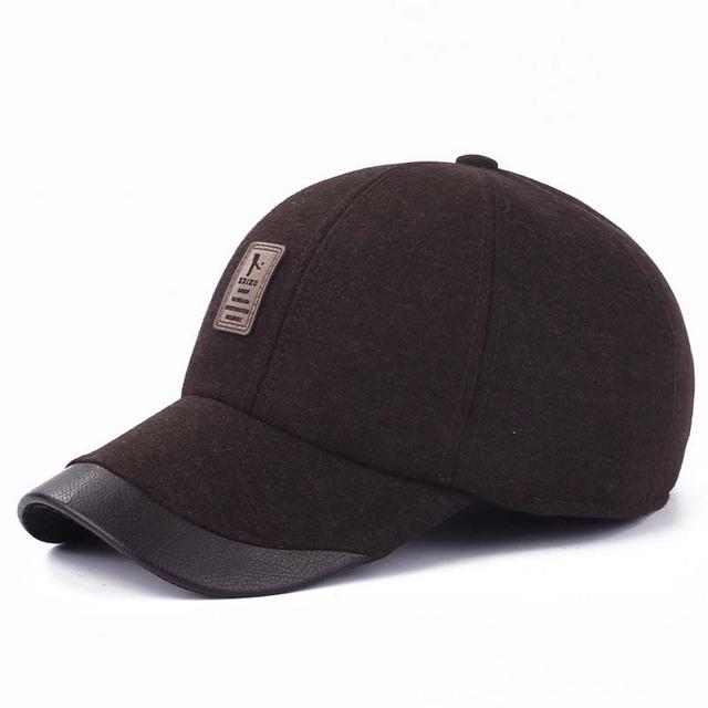 Alta calidad de cuero Maone Polo sombreros de piel de invierno gorra de béisbol del sombrero genuina ajustable para hombre gorras negras