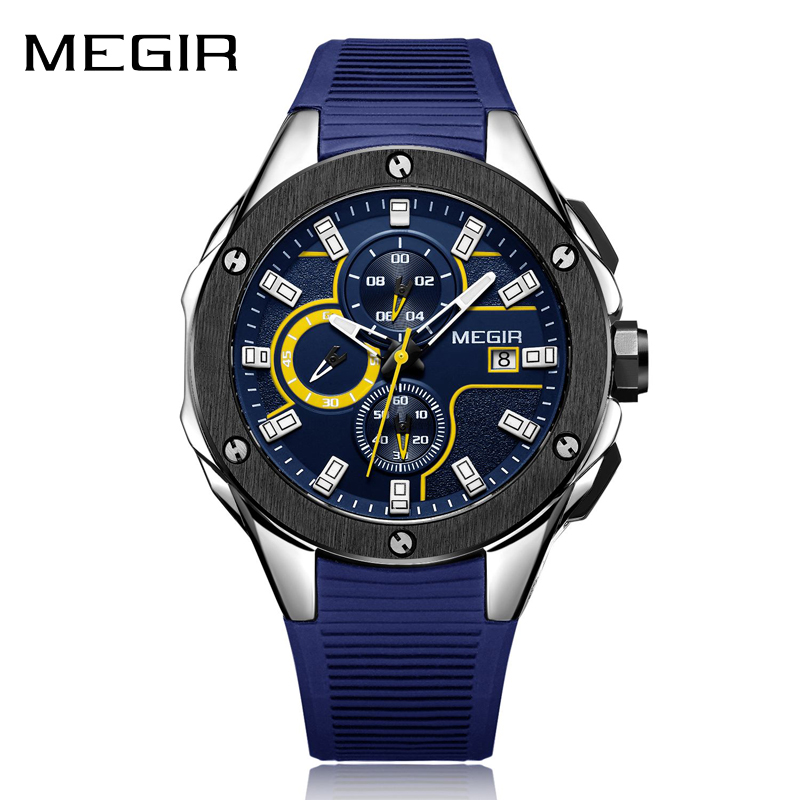 MEGIR Men Sport Watch Waterproof Chronograph Silicone Strap Quartz Army Military Watches Clock Luxury Male Relogio Masculino megir mens sport watch chronograph silicone strap quartz army military watches clock men top brand luxury male relogio masculino