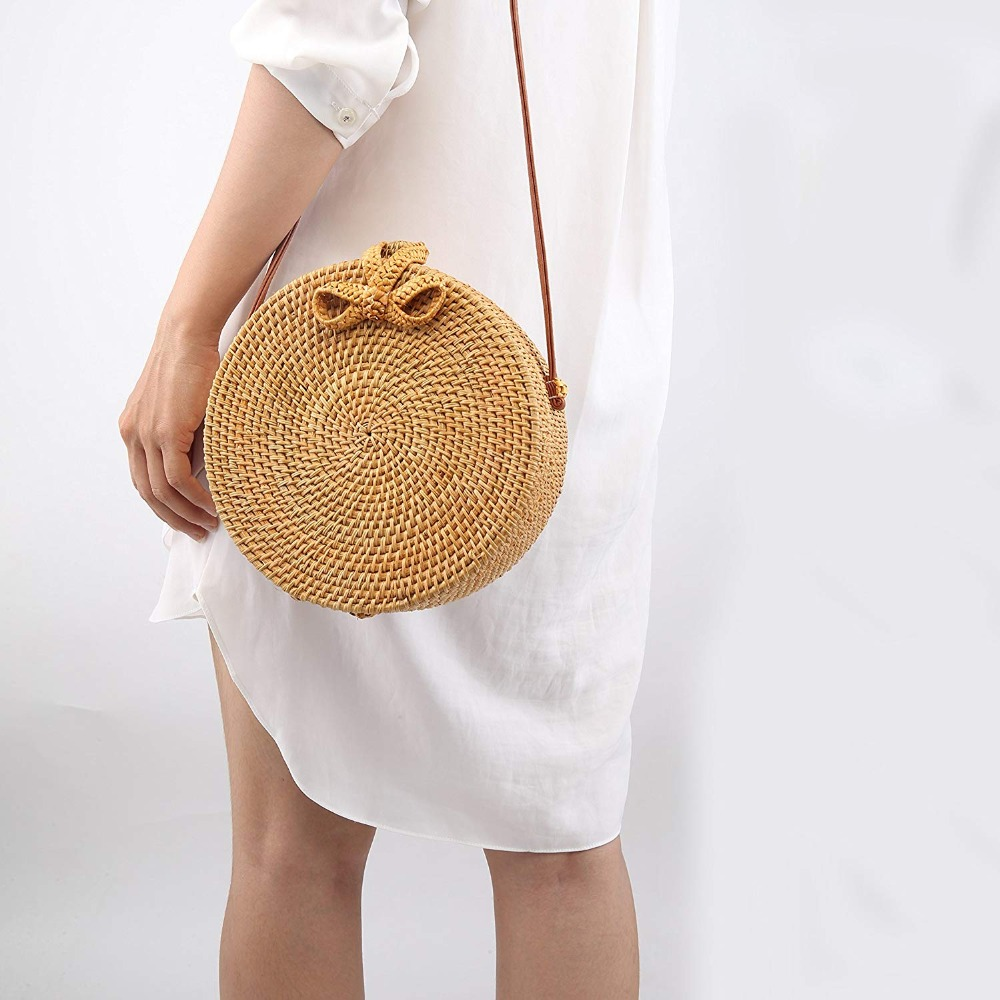 Bali Vintage Handmade Crossbody Leather Bag Round Beach Bag Girls Circle Rattan bag Small Bohemian Shoulder bag 7