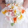 Yellow Orange Calla Lily Artificial Wedding Bouquets For Brides Handmade Bridal Bouquet Flowers Decoration