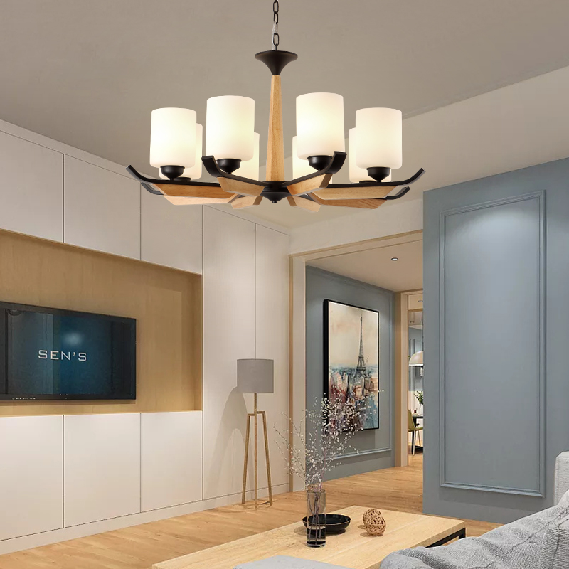 Modern LED Chandelier Lighting Contemporary Hanging Lamp for Living Room Home Decoration Indoor Lighting Fixture Wood Luxury